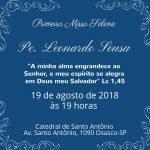 Leonardo Sousa realiza sua primeira missa na Catedral de Santo Antônio. Participe !