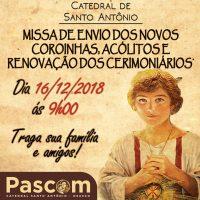 Envio de nossos coroinhas, acólitos e cerimoniários acontece dia 16