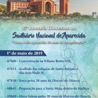 Comunidade da Catedral venha participar da 15ª Romaria Diocesana ao Santuário de Aparecida