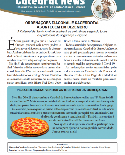 Ordenações e pizza são destaques no Catedral News